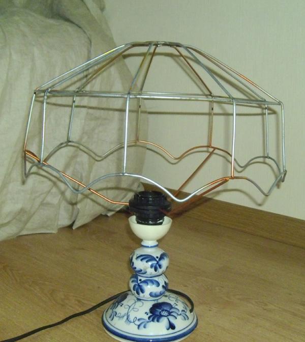 Как сделать каркас абажур на настольную лампу своими руками 79